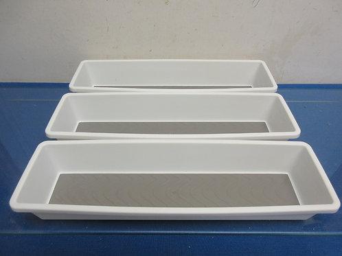 Essentials set of 3 silverware drawer bins w/non slip surface, white 13.5x3.75x2