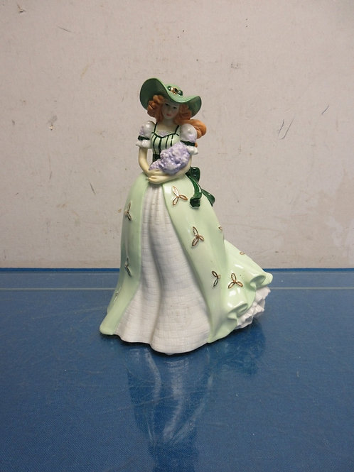 Ceramic Irish ladies of song statue, lady in long green dress