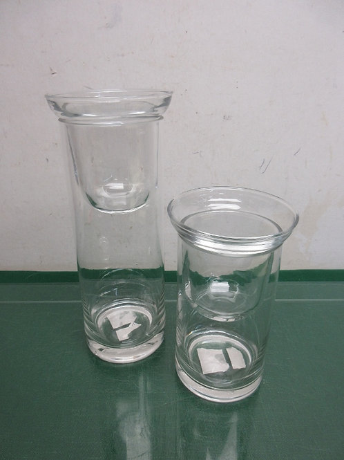 """Pair of glass cylinder candle holders with glass top inserts 7"""" and 10"""""""