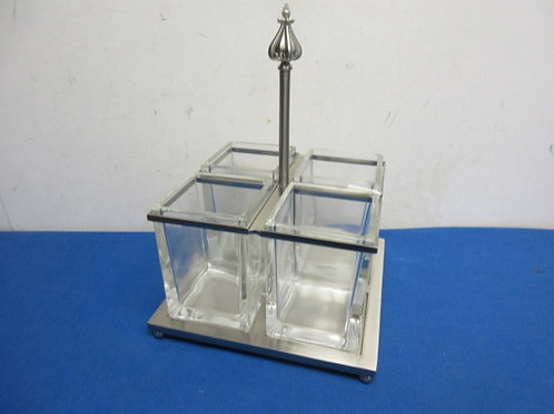 Heavy silver square 4 section glass condiment holders