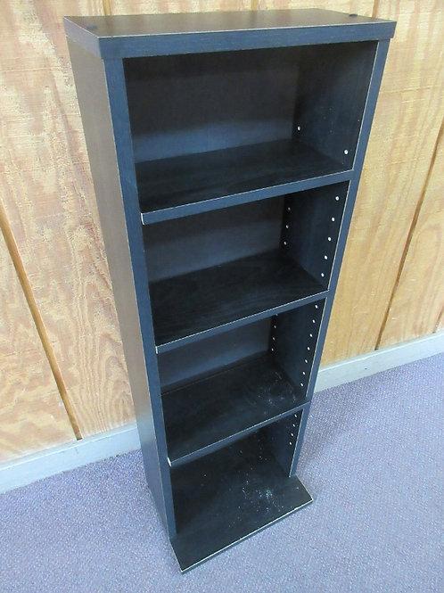 "Black wooden CD rack with 3 adjustable shelves, 5.5x11.5x36"" high"
