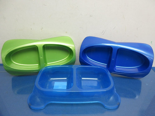 Set of 3 plastic small double pet bowls--one is non skid