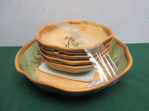 Clayaft rustic vine 5 pc salad bowl set, one large and 4 individual