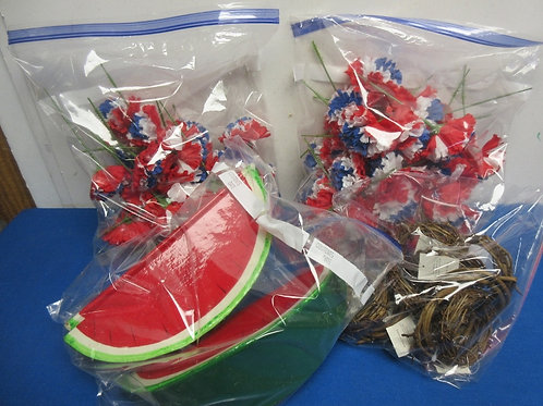 Summertime craft items, red,white, and blue flowers, small wreaths& fake waterme