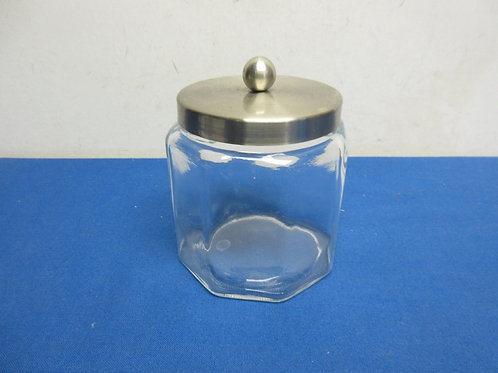 Small octagon glass jar with stainless lid