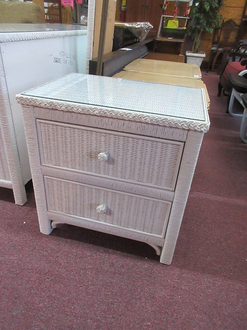 Lexington white wicker 2 drawer nightstand - 23.5x17x24