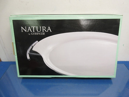Natura by Godinger, porcelain serving tray and chrome rack, 11x16, new in box