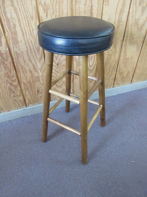 Wooden stool with black composite leather seat, 3 available