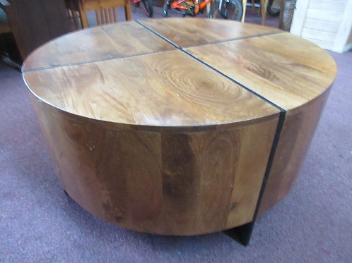 """Round heavy wooden coffee table, made in india 36""""dia x 18""""high"""