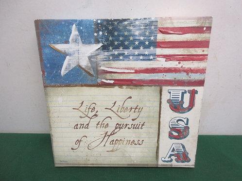 "Americana stretched vinyl wall hanging ""Life,Liberty…, 12x12"
