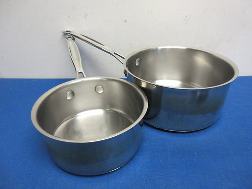 Pair of heavy stainless calphalon pots, 3qt and 1.5qt