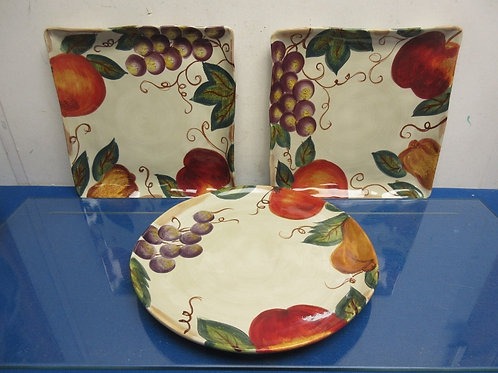 Set of 3 Corsica colorful fruit design serving platters, 2 square and 1 round