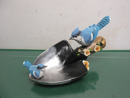 "Pair of blue jays on potting shovel, 11"" long x 5"" tall"