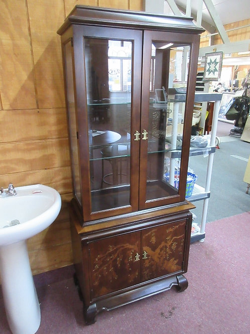 Broyhill asian style 2 pc lighted curio cabinet w/2 adj glass shelves - 16x31x72