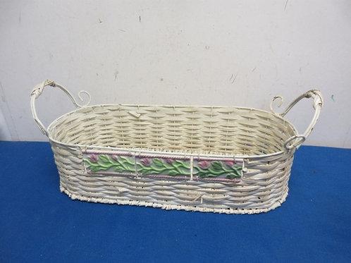 """White woven wicker oblong basket,  7x16"""" long"""