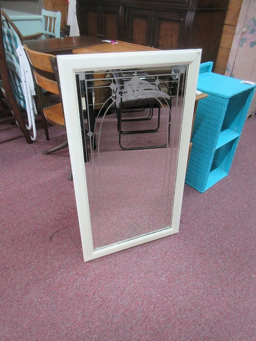 Hanging wall mirror with design in the mirror, ivory frame, 19x33