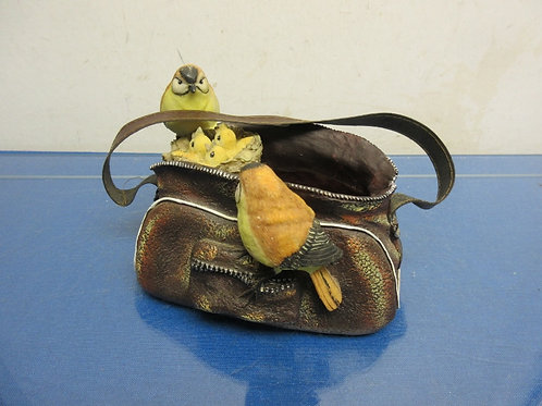 Resin fishing Creel bag with small birds nest and birds inside