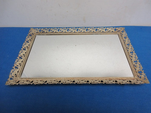 "Vintage make up mirror vanity tray, 9x14"""