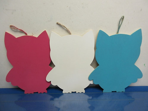 Set of 3 wooden owl shaped wall plaques, pink,blue and white, each 9x11