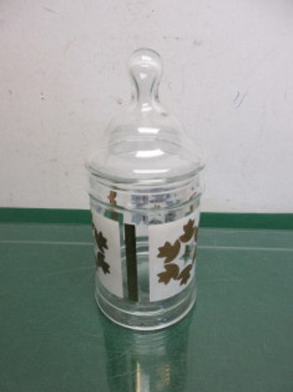Vintage glass apothecary jar with lid - white and gold design