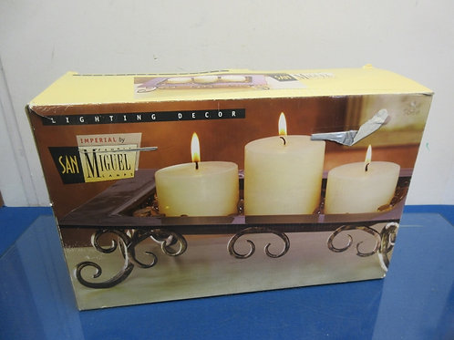 """San Miguel bronze metal base for 3 candles with gem stones, 14x8x16""""high/New in"""