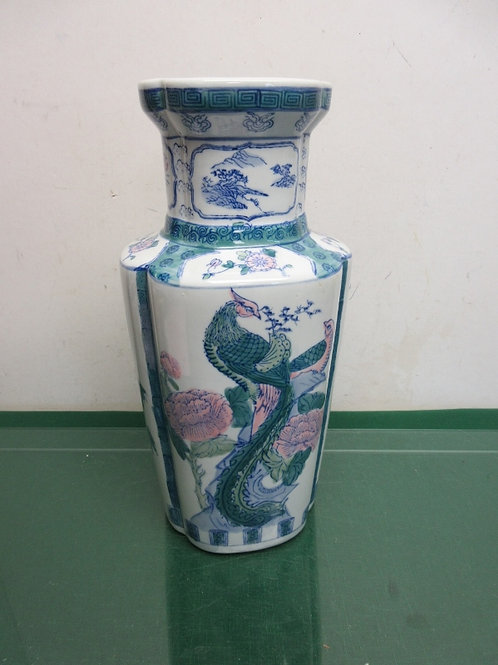 "Tall Asian style floral vase, 15""high"