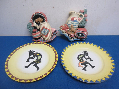 Pair of southwestern kokopelli decorative plates and 2 small southwestern wall p
