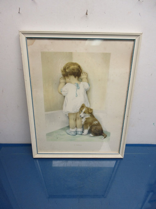 Vintage print of little girl in corner with her puppy - 15x19