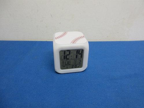 Digital cube shaped baseball alarm clock