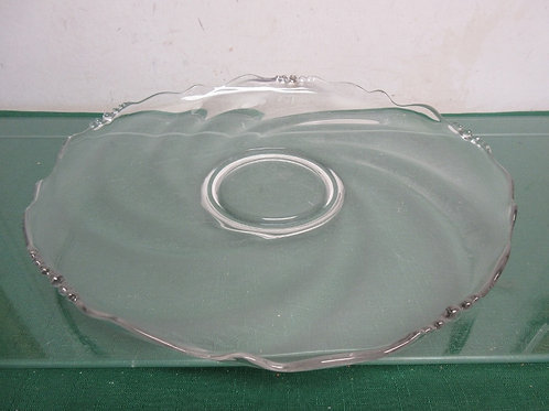 Glass serving tray with slot for dip bowl