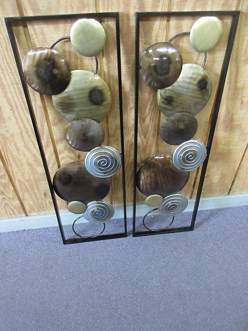 Pair of rectangular metal wall hanging, various cirlces welded , 12x36""
