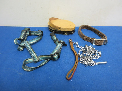 Small assortment of small dog leashes, collars and brush