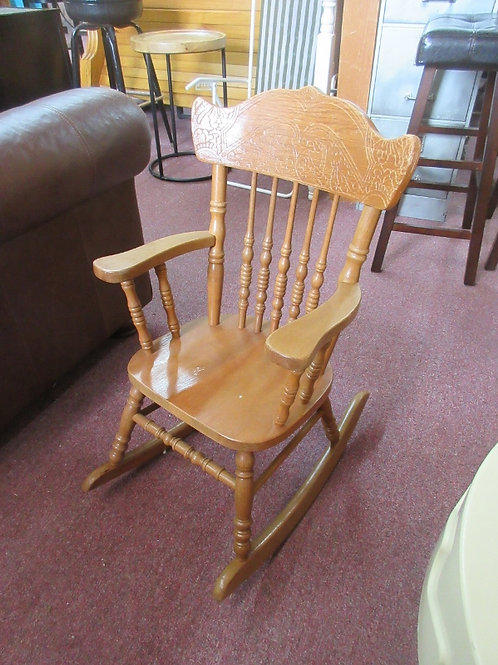 Children wooden rocking chair with curved back
