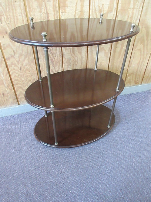 Cherry oval 3 tier end table