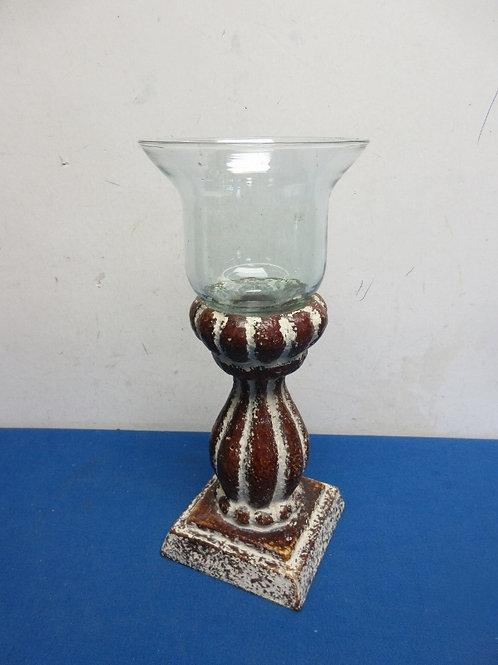 "Resin and glass pedestal vase 11"" H"