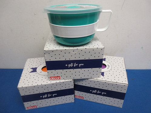 Set of 3 jumbo microwave mugs in gift boxes, great for meals on the go - 2 sets