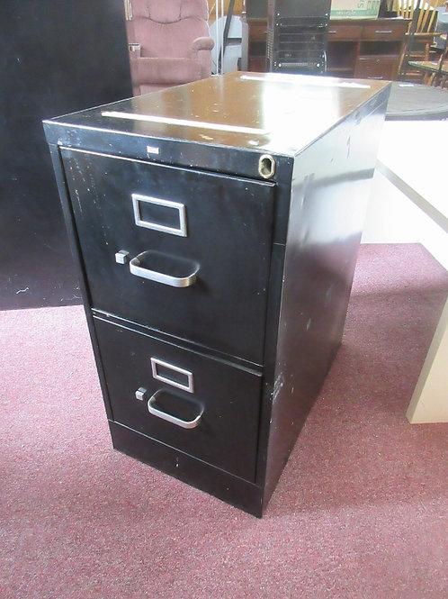 Black metal 2 drawer letter size file cabinet - 25x15x29