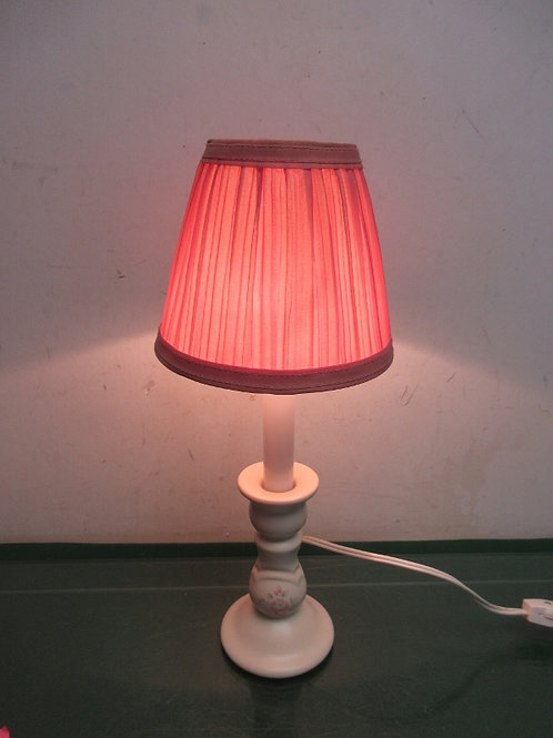 "Pfaltzgraff tea rose ceramic bedside lamp with small mauve shade - 15"" - 2 avail"