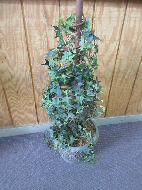 Ivy spiral topiary with resin floral design planter w/fleur de lis topper - 46""
