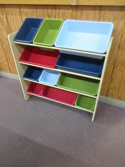 Natural wood bin organizing rack, has 11 various size bins, 11x33x34