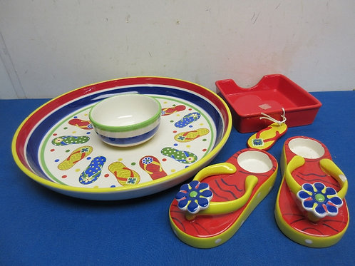 Beach theme chip & dip platter and accessories