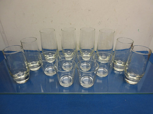 Glassware set, 14 glasses with heavy bases, 3 different sizes