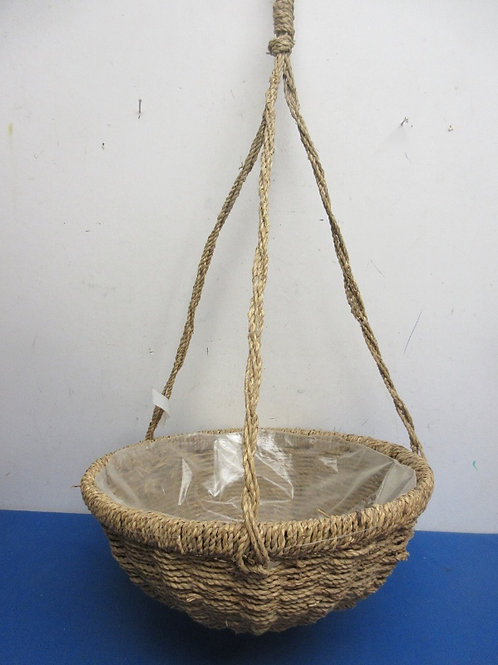 Woven jute over metal hanging planter with plastic lining - 14x60
