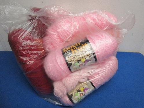 Large bag of yarn, over 10 skeins, Colors, pink & burgundy