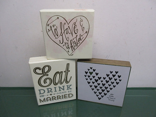 """Set of 3 small wooden wall signs """"to have & to hold"""", You make my heart happy..."""