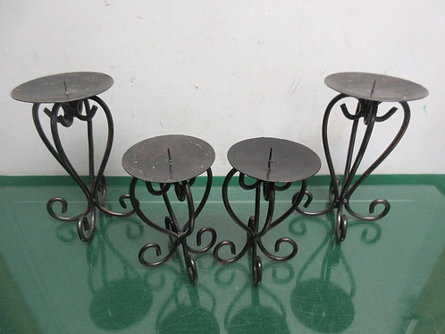 """Set of 4 metal scroll base pillar candle stands- two 6"""" and two 8"""""""