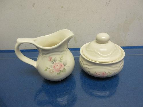 "Pfaltzgraffz ""tea rose"" sugar bowl and cream pitcher"