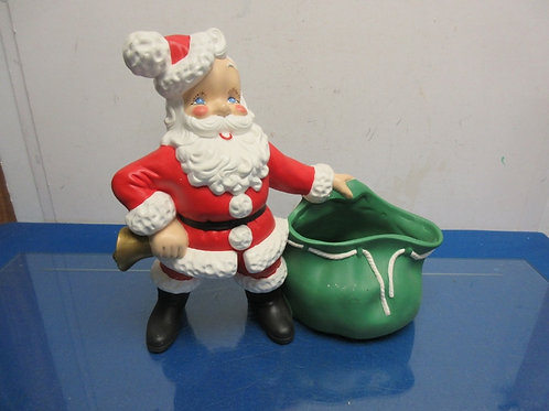 Ceramic standing Santa with large green toy sack