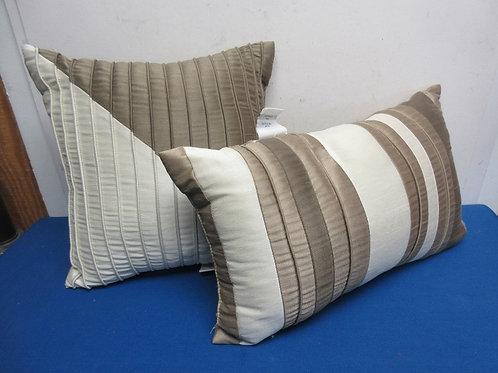 Pair of two tone beige sofa pillows