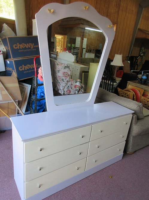 """Lilac and natural 6 drawer dresser with mirror 16x58x31""""high"""